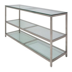 Nuevo Bianco Glass Top Bar - Silver - Create an easy and attractive way to serve guests with the Nuevo Bianco Glass Top Bar – Silver. The brushed stainless steel frame will easily accent your kitchen or dining room and the simple glass design is sure to complement many different décors. This elegant shelving unit is perfect for storing bar supplies or creating a buffet style serving center – set food and beverages on the top shelf while using the two bottom shelves for glass and dish storage. About Nuevo One of the most exciting contemporary design companies in the market Nuevo has made a name for itself with its unique approach to professional-quality home furnishings. Creating pieces with a defined contemporary edge Nuevo never fails to make a fashionable statement of the highest construction value.