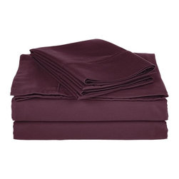 800 Thread Count Split King Sheet Set Solid Cotton Rich - Plum - Dress up your bedroom decor with this luxurious 800 thread count Cotton Rich sheet set. A superior blend of materials makes these sheets soft, easy to care for and wrinkle resistant.