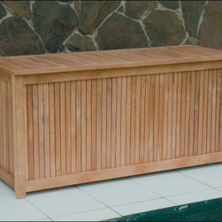 Fifthroom - Teak Storage Box - This Storage Box is a stylish way to store things on your porch, deck, or patio.  At four-and-a-half feet wide, and two feet high, it's the perfect place to put your outdoor furniture cushions, volleyball nets, and sports equipment.  Made from durable, decay-resistant Grade A Teak, it features ventilated sides, to keep your belongings free of mold and mildew.
