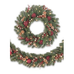 Balsam Hill Vermont White Spruce™ Bordeaux Decorated Wreath and Garland - THE ALLURE OF THE FRENCH COUNTRYSIDE WITH BALSAM HILL'S VERMONT WHITE SPRUCE™ BORDEAUX WREATH AND GARLAND |