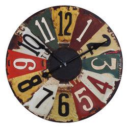 Uttermost - Vintage License Plates Clock - With a wonderful color scheme, this Vintage License Plates