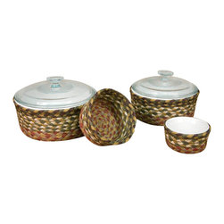 Earth Rugs - Olive/Burgundy/Gray Round Casserole Baskets (Set of 4) - Our Jute products are crafted with sustainably harvested jute, a fast-growing, renewable natural fiber. The jute is then hand braided into unique patterns.