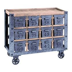 Benzara - Portable Storage Cart With Numbered Drawers - This charming storage cart is fit for a lavish countryside home. Each of the 12 drawers are uniquely numbered and offer deep storage space. The classic  in. European kitchen in.  style of this unit is perfectly suited to create unique and portable storage space. Use it to organize things in the home office, or to keep cooking utensils in the kitchen.