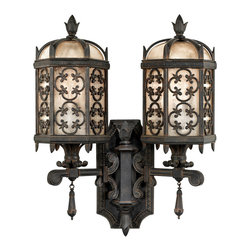 Fine Art Lamps - Costa del Sol Outdoor Wall Mount, 329581ST - Bring Moorish majesty to your home's facade with this two-armed exterior wall mount. Iridescent textured glass, stylized quatrefoil design and wrought iron finish work combine for impressive effect.