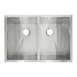 LessCare - Zero-Radius Undermount Stainless Steel Double Basin Kitchen Sink LP5 - *Condition: New