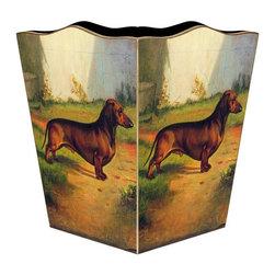 """Marye Kelley - Dachsund Wastebasket - Dachsund Wastepaper Basket 11"""" Wood Scallop Top"""