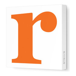 """Avalisa - Letter - Lower Case 'r' Stretched Wall Art, 12"""" x 12"""", Pumpkin - Spell it out loud. These lowercase letters on stretched canvas would look wonderful in a nursery touting your little one's name, but don't stop there; they could work most anywhere in the home you'd like to add some playful text to the walls. Mix and match colors for a truly fun feel or stick to one color for a more uniform look."""