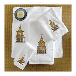 Pagoda Embroidered Towels - Add a chic chinoiserie touch to your bath with these crisp white towels with intricate pagodas in satin stitching. Love!