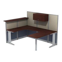 "BBF - BBF Office-in-an-Hour U-Workstation with Storage - BBF - Computer Desks - WC3649603STGK - Office-In-An-Hour gets to work as quickly as you do. It's furniture that's ready-to-go right out of the box and sets up in a snap. Easy to order and install it creates an attractive office where there once was just empty space. BBF Office-In-An Hour Line Hansen Cherry 65""W x 86""D U-WorkStation with Storage includes all panels and hardware to turn open environments into efficient offices. Its compact shape allows multiple configurations side-by-side as business expands. Soft-fabric back and sides let you pin posters photos notes and more. Pencil/pen/marker holder and flat-file brackets attach to side panel keeping work-in-progress at your fingertips. Hutch dual doors with self-closing European-style hinges and polished metal loop door pulls enclose upper storage area. Wire management grommets and wire raceways conceal cords and cables preventing tangles. Lockable Three-Drawer Storage with polished metal loop drawer pulls secures files and personal items. Two box drawers for supplies and one file drawer hold letter- legal- and A4-size files. Full extension ball bearing slides allow easy access to back of drawers. thermally fused laminate top surface resists scratches and stains. Durable edge banding protects against dings and dents. Includes BBF commercial quality 10-Year Warranty"