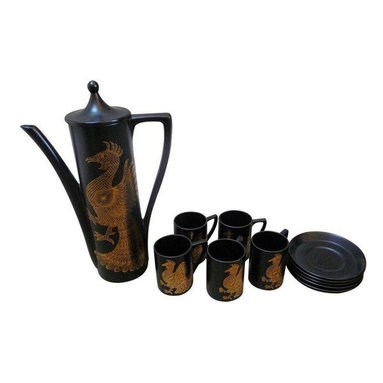 Pre-owned 1960's Phoenix Coffee Set - This phoenix motif, 13 piece, black and gold coffee set is by John Cuffley. A stylish service that will help you rise from the ashes shining better and brighter than before. The set includes six cups and saucers and one coffee pot.