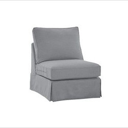 PB Comfort Square Armless Chair, Polyester Wrap Cushions, Twill Metal Gray - Sink into this comfort sectional just once, and you'll know how it got its name. With extra-deep seats and three layers of thick padding on the arms and back, these eco-friendly components provide roomy comfort for the whole family. {{link path='pages/popups/PB-FG-Comfort-Square-Arm-4.html' class='popup' width='720' height='800'}}View the dimension diagram for more information{{/link}}. {{link path='pages/popups/PB-FG-Comfort-Square-Arm-6.html' class='popup' width='720' height='800'}}The fit & measuring guide should be read prior to placing your order{{/link}}. Choose polyester wrapped cushions for a tailored and neat look, or down-blend for a casual and relaxed look. Choice of knife-edged or box-style back cushions. Proudly made in America, {{link path='/stylehouse/videos/videos/pbq_v36_rel.html?cm_sp=Video_PIP-_-PBQUALITY-_-SUTTER_STREET' class='popup' width='950' height='300'}}view video{{/link}}. For shipping and return information, click on the shipping tab. When making your selection, see the Quick Ship and Special Order fabrics below. {{link path='pages/popups/PB-FG-Comfort-Square-Arm-7.html' class='popup' width='720' height='800'}} Additional fabrics not shown below can be seen here{{/link}}. Please call 1.888.779.5176 to place your order for these additional fabrics.