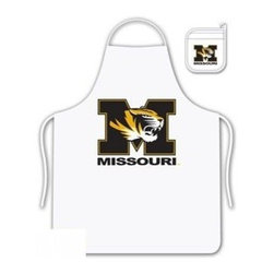 Sports Coverage - Missouri Tigers Tailgate Apron and Mitt Set - Set includes your favorite collegiate Missouri University Tigers screen printed logo apron and insulated cooking mitt. White apron with white silver backed mitt. Both items are logoed. Tailgate Kit apron and mit is 100% cotton twill with screenprinted logo.