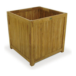 Westminster Teak Furniture - Westminster Teak Cube Planter 28 x 28 x 28 - This square teak garden planter is ideal for patios, entries and garden areas. Made from eco-friendly plantation grown teak, this planter is ideal for small spaces wanting herbs or flowering annuals.