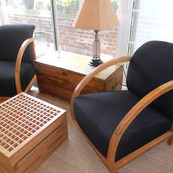 French Deco Arm Chairs - Antique French deco chairs, circa 1920, fruitwood & black linen.