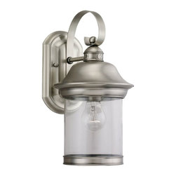 Seagull - Seagull Hermitage Outdoor Wall Mount Light Fixture in Antique Brushed Nickel - Shown in picture: 88081-965 One Light Antique Brushed Nickel Lantern in Antique Brushed Nickel finish with Clear Glass