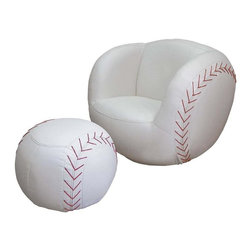 ORE International - Baseball Kids Chair & Ottoman Set in White Fi - Includes chair and ottoman. Swivel. Baseball shape design. Comfortable seating. Red accent on sides. Made from polyester fiber and foam . 30 Days warranty. Chair: 29 in. W x 28 in. D x 28 in. H. Ottoman: 16 in. Dia x 20 in. H. Overall weight: 60 lbs.Add a delightful accent for your child's room with this sport themed chair and ottoman set. It offers a perfect place for your kids to rest after a long day of school or play. Perfect for anyone who loves soccer, this cute chair and matching ottoman are crafted from sturdy yet soft material to provide a comfortable support. Your little ones will surely love relaxing in this chair when reading a book or watching games on television. With its extremely inviting design, children will slip right into the chair and will never want to sit anywhere else.