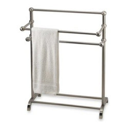 Taymor Industries Inc. - 3-Tier Satin Nickel Towel Stand - This towel valet is sleek and simple in its design, yet it is a fully functional accessory for your bath or washroom. Holds up to six towels and is capable of holding blankets, quilts, etc.