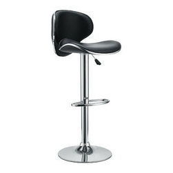 """LexMod - Saddleback Bar Stool in Black - Saddleback Bar Stool in Black - Ride new vistas and conquer all obstacles with this adventure packed bar stool. Gird yourself as an underlying force of light-filled prowess bursts from this pedestal of strength. Celebrate special moments and enliven casual repartee with the vinyl wave seat and polished chrome base. Set Includes: One - Saddleback Vinyl Barstool Fits most bars and countertops, Funky 1950s retro look, Padded vinyl wave seat & back, Height adjustable hydraulic lift, Polished chrome-finished base, Tubular footrest for support, Easy wipe clean surface Overall Product Dimensions: 15.5""""L x 25""""W x 32 - 40.5""""H Seat Height: 23.5 - 32""""H - Mid Century Modern Furniture."""