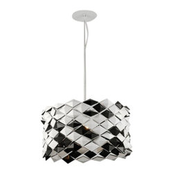 Whiteline Modern Living - Alina Pendant Light - PL1147 - Shop for Pendants from Hayneedle.com! Dress your space in graphic black and white diamonds with the ultra modern Alina Pendant Light. This bold contemporary pendant light suspends from a slim rod that perfectly showcases its dramatic drum shade. Requires one E26 bulb (not included). About Whiteline:With a product line that includes prime leather sofas comfortable beds and elegant dining room furniture Whiteline delivers modern and contemporary styles along with cozy comfort. Whiteline has 15 years of experience building furniture along with a worldwide network of skilled manufacturers to help them give you the best value for your money. And their huge collection of designs is sure to have something to suit your contemporary tastes.