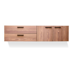 Blu Dot - Blu Dot Shale 2 Door / 2 Drawer Wall-Mounted Cabinet, Light Walnut - Layers of clean details. Solid wood and full grain leather pulls add storage panache and practicality to the bedroom, living room or dining room. Cabinet mounts to the wall, so you can pick the height that is right for your space. Door units feature adjustable shelves and wire management holes. Available in Smoke, Light Walnut and natural Walnut.Solid ash top and door/drawer fronts, Steel wall mounting cleat, Full grain leather door and drawer pulls, Plywood side, bottom and back panels, Nylon glides