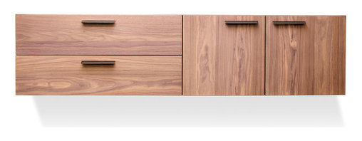 """Blu Dot - """"Blu Dot Shale 2 Door / 2 Drawer Wall-Mounted Cabinet, Light Walnut"""" - """"Layers of clean details. Solid wood and full grain leather pulls add storage panache and practicality to the bedroom, living room or dining room. Cabinet mounts to the wall, so you can pick the height that is right for your space. Door units feature adjustable shelves and wire management holes."""""""