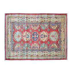 Area Rug, Hand Knotted 100% Wool 3'X4' Super Kazak Tribal Design Rug SH11374 - This collections consists of well known classical southwestern designs like Kazaks, Serapis, Herizs, Mamluks, Kilims, and Bokaras. These tribal motifs are very popular down in the South and especially out west.