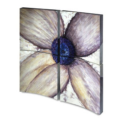 """Vertuu Design - 'Flower Flow I' Artwork (Set of 4) - Create an elegant and dramatic look in your living or dining room using the """"Flower Flow I"""" Artwork. Hand-painted on four separate convex panels, these high gloss acrylic canvas pieces form a large flower with a blue center and purple petals. The white background with mottled brushstrokes adds texture to the art. Display it above a bed or dress for a unique focal piece."""