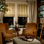 Custom Classic Roman Shades Side Panels - WINDOW TREATMENT IDEAS - www.ddccustomwindowfashions.com -Design your own custom roman shade & side panels for your living room with your choice of over 2000 distinctive fabrics, modern styles, and multiple options.
