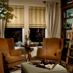 Custom Classic Roman Shades Side Panels - Design your own custom roman shade & side panels for your living room with your choice of over 2000 distinctive fabrics, modern styles, and multiple options.