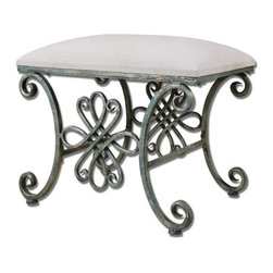 The Uttermost Company - Yvanna Small Bench - Forged metal in heavily oxidized silver finish with seat in soft, sandy linen.