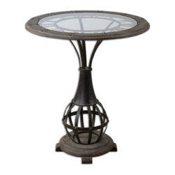 Uttermost - Uttermost Honi Glass Accent Table in Antique Metal - Antiqued metal clock framework with weathered fir wood top inset with clear tempered glass.
