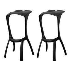 Baxton Studio - Baxton Studio Zinley Black Molded Plastic Modern Bar Stool (Set of 2) - Backless bar stools are known to open up a space. The Zinley Bar Stool eliminates the look of a cluttered, crowded bar while also being lightweight, sturdy, and easily repositionable.  Made from a single mold, this stool is constructed of a durable black plastic with small finishing touches such as a ridged footrest and handle on the back.  The stool is fully assembled.