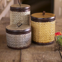 "Silver Nest - Bohemian Canisters- Set of 3- 11.5""h - Textured Ceramic Bohemian Canisters with Leather Lids- Set of 3"
