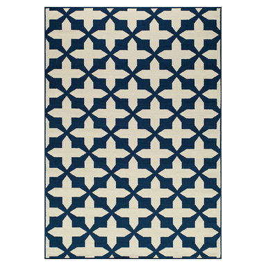 """Momeni Rug - Momeni Rug Baja 7'10"""" x 10'10"""" BAJ12 Navy BAJA0BAJ12NVY7AAA - Create the ultimate indoor/outdoor oasis of your dreams with the Baja Collection. Lively patterns, bright and bold color choices and long lasting durability make these rugs ideal for the sun room or patio. Exciting colors and gorgeous graphic patterns make the Baja Collection not to be missed."""