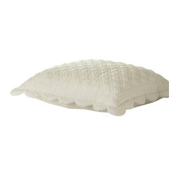 "Taylor Linens - Beth King Sham - The Beth Quilt has been delicately hand-stitched with soft scallops and cording detail. It is made from 100% cotton fabric and is machine washable. This sham comes in a soft cream color. Filled with a 100% White Goose Feather and Down Pillow. This King Sham is currently not pictured. Please note that this sham will be taller and wider than this picture shows. 23""x35"""