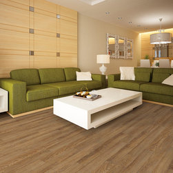 US Floors Cortech Plus Luxury Vinyl - USFloors COREtec Wood-Look Vinyl    collection showing in Rocky Mountain Oak is made with groundbreaking core structure, which is comprised of recycled wood and bamboo dust, limestone, and virgin PVC (Polyvinyl Chloride)