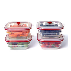 Collapse-It - Collapse-It 4-Cup Rectangle Container - Set of Four - With air-tight lids, this sublime set of silicone storage containers has a solution for keeping any item securely sealed and fully fresh! The collapsible construction saves crucial kitchen space when not in use.   Includes four containers Holds 4 cups 100% silicone Toxin-free Freezer-, oven-, microwave- and dishwasher-safe 2-year warranty Imported