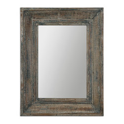 Uttermost - Missoula Small Mirror - Farmhouse chic can be yours in this fabulous distressed mirror. The blue-green finish has aged wood undertones and rustic ivory accents. It's a great accent mirror for a casual aesthetic or country kitchen.