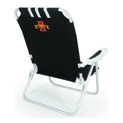 "Picnic Time - Iowa State Monaco Beach Chair Black - The Monaco Beach Chair is the lightweight, portable chair that provides comfortable seating on the go. It features a 34"" reclining seat back with a 19.5"" seat, and sits 11"" off the ground. Made of durable polyester on an aluminum frame, the Monaco Beach Chair features six chair back positions and an integrated cup holder in the armrest. Convenient backpack straps free your hands so you can carry other items to your destination. Rest and relaxation come easy in the Monaco Beach Chair!; College Name: Iowa State; Mascot: Cyclones; Decoration: Digital Print"