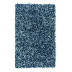 "Surya - Surya Shimmer Hand Woven Blue Plush Polyester Rug, 18"" x 18"" - If you are looking for a shag that can make your room shine, the rugs of the Shimmer collection are exactly what you want. Hand-woven polyester in striking, metallic shades, each piece is full of luminous movement and energy. The combination of innovative style and cutting edge design make these rugs the perfect accent for a transitional or contemporary setting. Imported.Material: 100% PolyesterCare Instructions: Blot Stains"