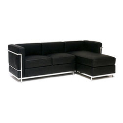 IFN Modern - Le Corbusier LC2 Style Sectional - â— Available in 100% Full Grain Italian Leather and 100% Full Grain European Aniline Leather Upholsteryâ— Variety of colors availableâ— Fully upholstered in your leather grade of choice, including all sides, back and detailing; not Leather Match, Bonded Leather etc.â— Frame is constructed of grade 304 steel for stronger support and durable chip resistanceâ— Choice of Left arm or Right arm (sectional)â— All joints are fully welded, grind, sealed and sanded for a smooth finishâ— Adjustable leveling floor protecting foot-capsâ— Multi-density, CA-117 compliant cushions wrapped in Dacron polyester battingâ— Fire retardant foamâ— Reinforced bottom seat cushions for firm, long-lasting comfortâ— Hardwood box frame construction
