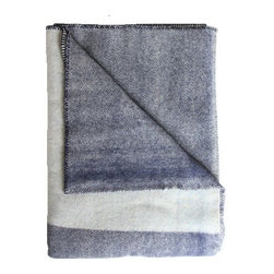 Wool Blanket, Navy with Light Blue Panel - Navy is a quintessential beach cottage hue. I love how this virgin wool blanket, with its chambray-style indigo weave, is a little more modern and sophisticated than your average fare.