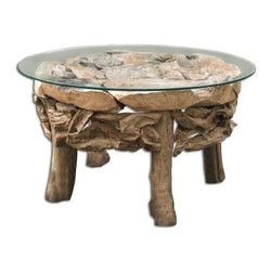 Uttermost - 25619 Teak Root - 36 Round Coffee Table Natural Finish with Clear Glass - Natural, unfinished reclaimed teak wood with a clear glass top.