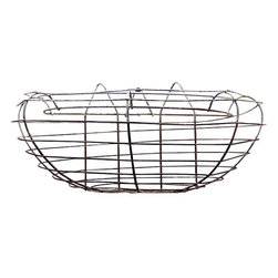Arched Wire Wall Basket - Rounded vintage galvanized wire wall garden basket-great for the garden with moss & plants, seashells. Would also look great indoors. Arches out 9 inches from the wall.