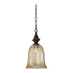 "Uttermost - Traditional Elba Collection Mini Pendant Chandelier - This elegant mini pendant chandelier is brimming with style. Features a handsome spice finish with iridescent crackle glass. Takes one 100 watt bulb (not included). 16"" high. 9"" wide. Canopy measures 5"" wide. Comes with 7 feet chain and 9 feet wire. 9 lbs. hanging weight.  Spice finish.  Iridescent crackle glass.   Takes one 100 watt bulb (not included).   16"" high.   9"" wide.  Comes with 7 feet chain and 9 feet wire.  Canopy measures 5"" wide.  9 lbs. hanging weight."