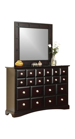 Najarian Furniture - Palazzo 2 Pc Tall Drawer Dresser and Square Mirror Set - Two-piece Palazzo bedroom set gives you ample storage space with room to spare.  Traditional style dresser features unique bevel-cut drawers with gleaming metal knobs.  Matching square beveled mirror with geometric raised panel frame will reflect your excellent taste. Set includes Dresser and Mirror. Ebony finish. Palazzo collection. Dresser: 60 in. W x 18.5 in. D x 44 in. H. Mirror: 42 in. W x 1.5 in. D x 42 in. H