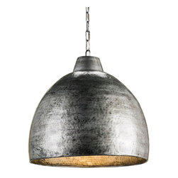 Currey & Company Earthshine Pendant Light - Currey & Company Earthshine Pendant LightThe Earthshine Pendant is constructed of randomly hammered metal with a Blackened Steel finish inside and out. The warm glow is provided by the incandescent light reflecting on the metallic finish. The hand finishing process used on this chandelier lends an air of depth and richness not achieved by less time-consuming methods.Material: Wrought Iron