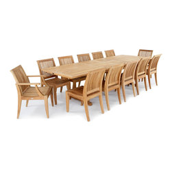 Westminster Teak Furniture - Veranda Laguna 13pc Teak Wood Dining Set - Large Rectangular Extendable Teak Table with 10 Laguna Teak Dining Chairs & 2 Premium Laguna Teak Armchairs.  Quality Rated 'Best Overall' by Wall Street Journal.  Lifetime Warranty, Risk Free Moneyback Guarantee.