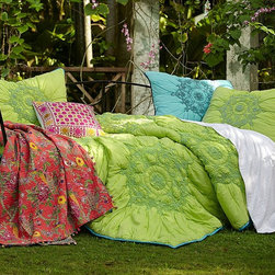 Moroccan Smocked Comforter - Irresistibly happy, this bright, sunny quilt wakes up the bed with vibrant color and sumptuous texture. Airy, light cotton voile is ornamented with intricate Moroccan medallions that have been sewn with elasticized thread for a gorgeous ruched look.