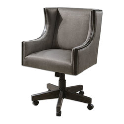 """Uttermost - Aldina Adjustable Accent Chair - Caster base has adjustable height, swivel, and locking tilt function. Seat is durable and plush, sueded polyester in warm gray with an espresso stained, solid hardwood exposed frame. Seat height will adjust from 20.5"""" to 25.5""""."""